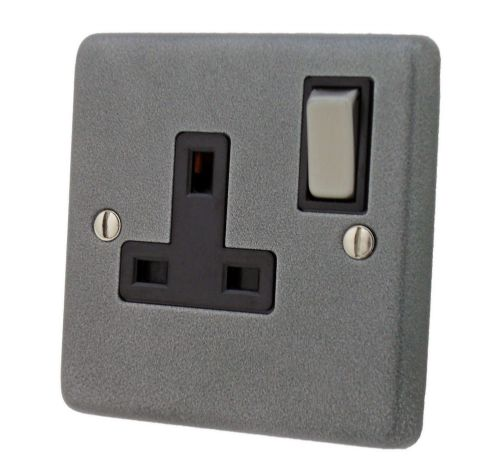 G&H CP309 Standard Plate Pewter 1 Gang Single 13A Switched Plug Socket